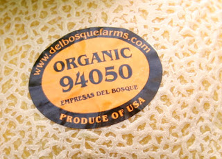 PLU sticker for organic melon
