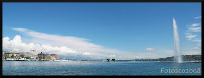 Jet d'eau de Genève, panoramique de la rade