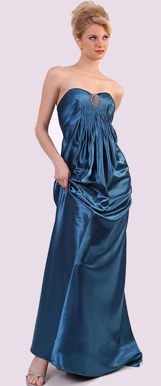 Simple pleated peacock blue gown 8 One shoulder stylish gown