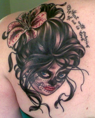 day of dead girl tattoo design. day of dead girl tattoo. day
