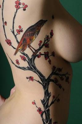 Cherry Blossom Tattoo_Bird Tattoo Design