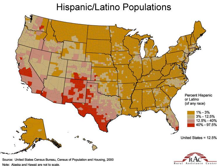 New Census Estimates Show Increase In Minority Population - Map-of-minorities-in-us