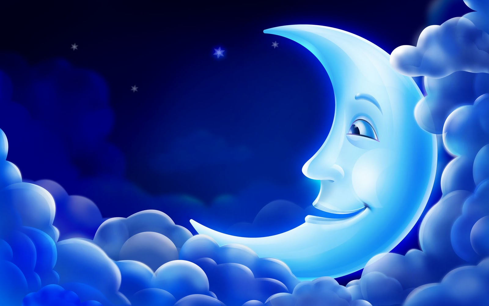 CG 3D Animation PC Background Blue Moon Smile Sky  Star Wallpapers