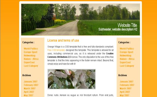 Free CSS Orange Forest Nature Template