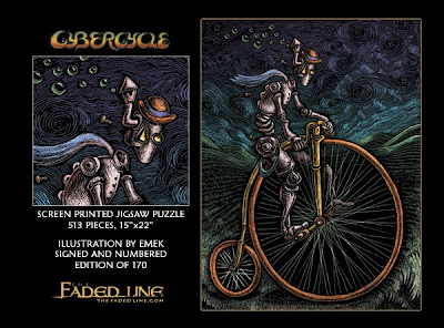 The Faded Line Limited Edition Jigsaw Puzzles - Cybercycle by Emek