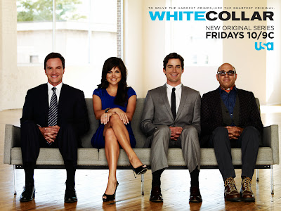 White Collar Season 1 Cast Photo - Tim DeKay as Special Agent Peter Burke, Tiffani Thiessen as Elizabeth Burke, Matt Bomer as Neal Caffrey and Willie Garson as Mozzie