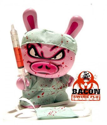 Hand Painted Custom Bacon Swine Flu Edition 8 Inch Dunny by Sket One