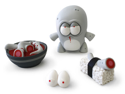 Rivet Exclusive O-No Sushi Bloody Edition Greyscale Colorway Vinyl Figure by Andrew Bell