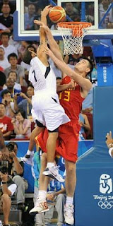 USA Redeem Team Member Deron Williams Scores on China's Yao Ming in Team USA's First Olympic Basketball Game
