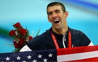 United States Olympic Swimmer Michael Phelps Celebrating His 8th Olympic Gold Medal at the Beijing Olympics From The Men's 4x100 Medley Relay
