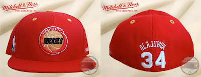 Mitchell & Ness NBA Hall of Fame Collection - Hakeem Olajuwon Houston Rockets Fitted Hat (front and back)