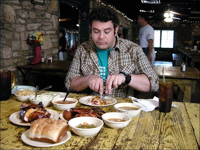 Man v. Food - Adam Richman eating Bar-B-Q at The Salt Lick outside of Austin, TX