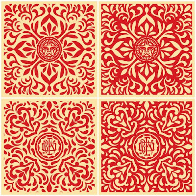 Obey Giant - Japanese Fabric Pattern Print Set (Red) by Shepard Fairey