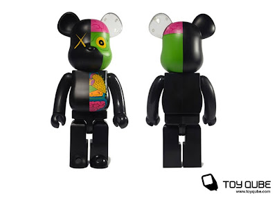 Medicom x Original Fake Kaws Black Dissected Companion 100%, 400% & 1000% Bearbrick Vinyl Figures