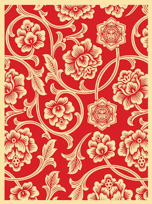 OBEY Giant - Red Flower Vine Screen Print by Shepard Fairey