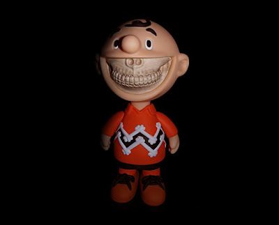 ZacPac Exclusive Charlie GRIN Vinyl Figure Orange Shirt Colorway by Ron English