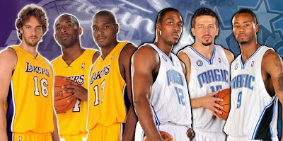 The 2009 NBA Finals: Los Angeles Lakers vs. Orlando Magic - Lakers Pau Gasol, Kobe Bryant & Andrew Bynum and Magic Dwight Howard, Hedo Turkoglu & Rashard Lewis
