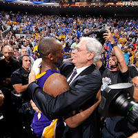 Kobe Bryant and Lakers Head Coach Phil Jackson Celebrate After the LA Lakers Win the 2009 NBA Championship