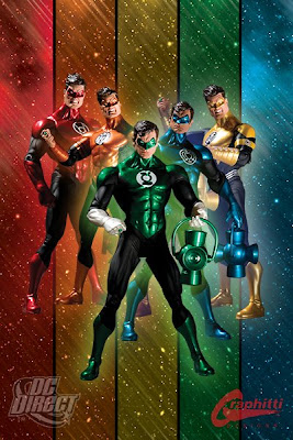 San Diego Comic Con 2009 Exclusive Green Lantern Hal Jordan Blackest Night Corps Action Figure Set - Red, Orange, Green, Indigo & Yellow
