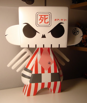 Original Custom Hand Painted 20 Inch Red Striped Skullhead Mad'l Vinyl Figure From 2005 by Huck Gee