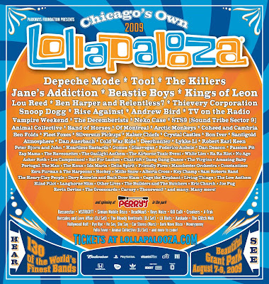 The 2009 Lollapalooza Music Festival Line-Up Poster