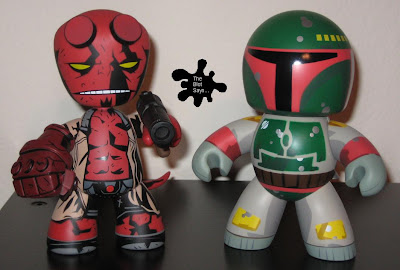 Hellboy Mez-Itz vs. Boba Fett Mighty Muggs Vinyl Figures Front View