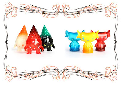 Super7 San Diego Comic-Con 2010 Exclusive GID, Clear Red & Black Miltons & Clear Blue, Yellow & Red Feltons