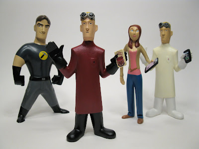 Dr. Horrible Sing-Along Blog Vinyl Figure Set by Jenny Wolf - Captain Hammer, SDCC Exclusive ELE Edition Dr. Horrible, Penny & the Standard Edition Dr. Horrible