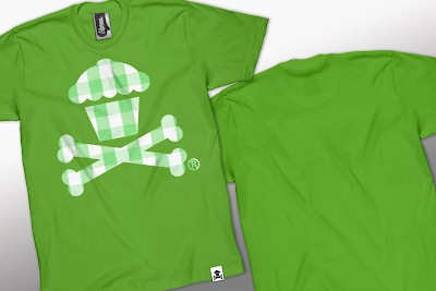 Johnny Cupcakes Summer 2010 Collection Part III - Gingham Cupcake and Crossbones on a Lime T-Shirt