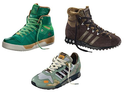 Star Wars x adidas Originals Fall/Winter 2010 Collection - Jabba the Hutt Green Metro Attitude Sneakers, Chewbacca Brown Furry Jogging Hight Sneakers & Boba Fett ZX 800 Sneakers
