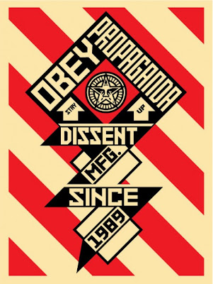 "Obey Giant ""Constructivist Banner"" Cream Screen Print by Shephard Fairey"