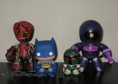 Mini Mighty Muggs vs Pop! Heroes DC Universe - Hellboy, Batman, Boba Fett & Shockwave