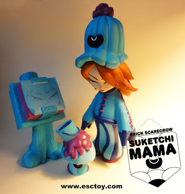 ESC Toy Suketchi Mama Blue Resin Figure Set by Erick Scarecrow - Suketchi Mama, Paint Shroom &amp; Paddopa Sketch Pad