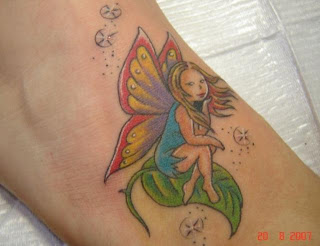 Ankle Sitting Fairy tattoos