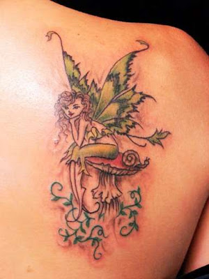 Picture Sexy Girls With Upper Back Fairy Tattoos Design