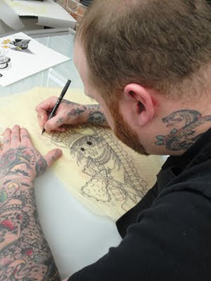 Steve Turner working on the final line drawing for Trent's huge Native