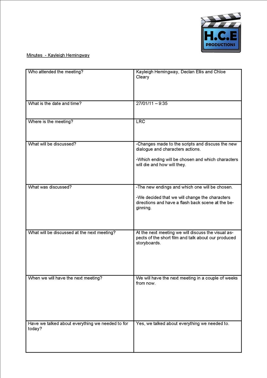 production meeting minutes template .