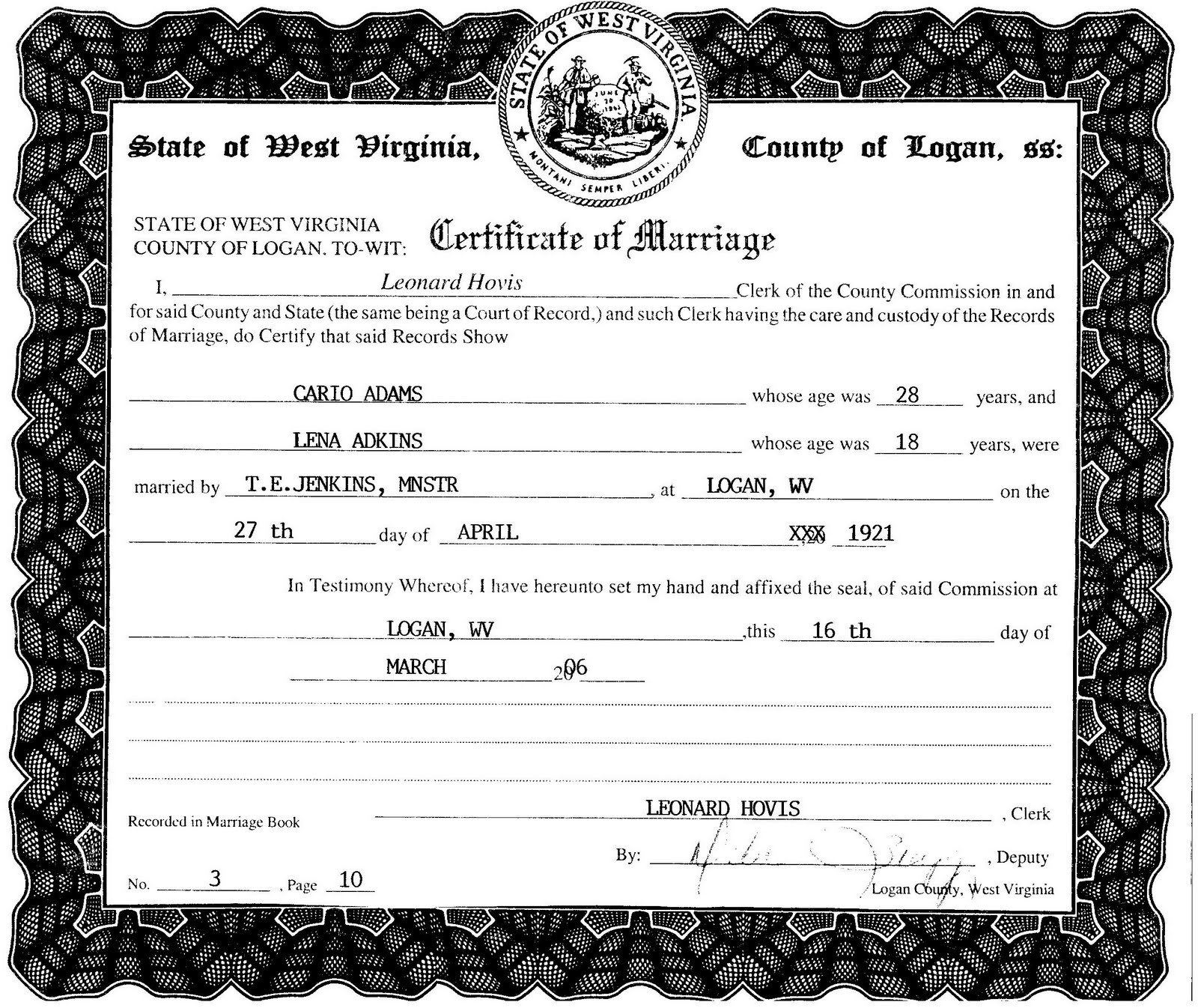 Marriage Records: Marriage Certificate Of Karo Adams And Lena Adkins