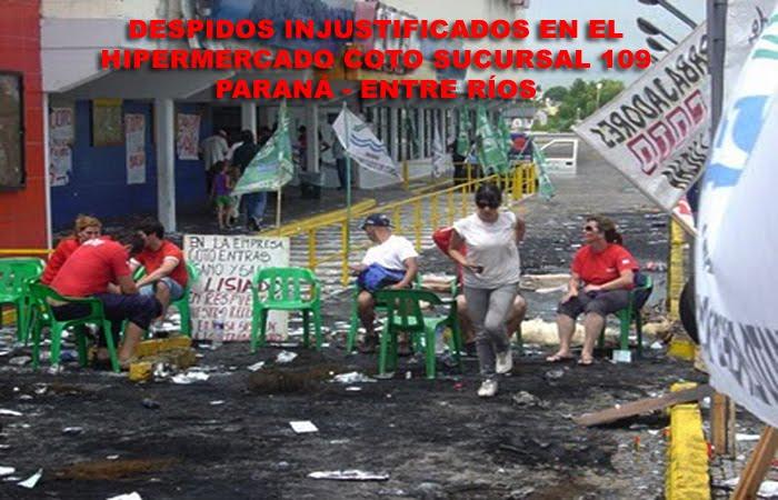 Despidos injustificados en el Hipermercado  Coto de Paraná