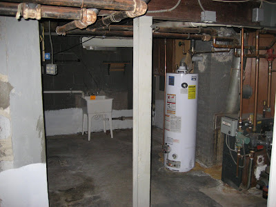basement furnace and water tank area