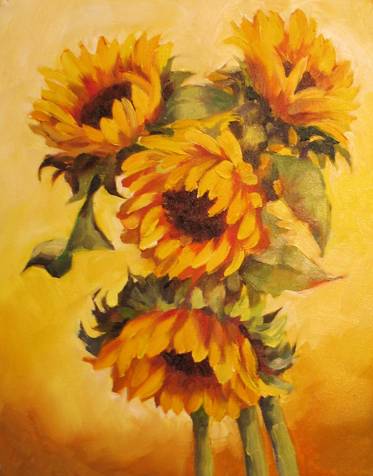 Nel's Everyday Painting: Sunflowers on Yellow - SOLD
