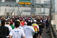 Los corredores sobre el puente Verrazano-Narrows
