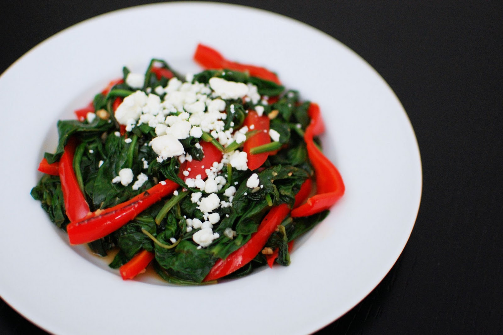Spinach with Red Peppers