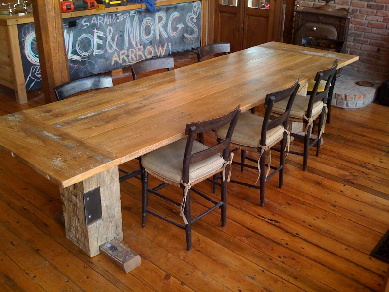 Feeling this rustic, farmhouse, industrial chic inspired kitchen table