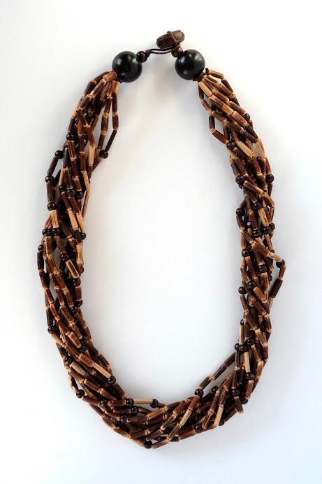 Collana 10 fili legno
