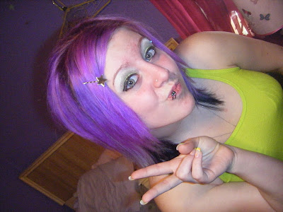 Violet colored scene haircut for emo scene girls