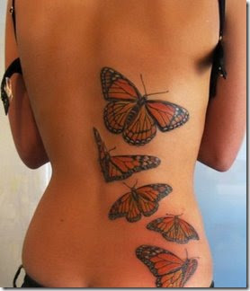 Girls Put Tattoos any Design Butterfly