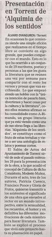 """Presentación """"Alquimia de los Sentidos"""" en Torrent"""