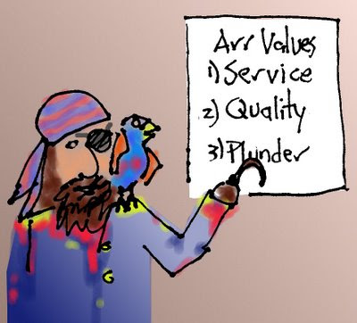 Pirate pointing at Sign that says: Arr Values 1) Service 2) Quality 3) Plunder