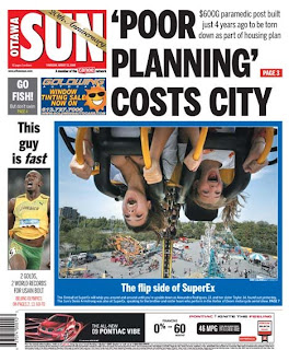 Ottawa Sun Cover 2008-08-21 - 'POOR PLANNING' COSTS CITY. Copyright 2008 Sun Media Group - FAIR USE - COMMENTARY